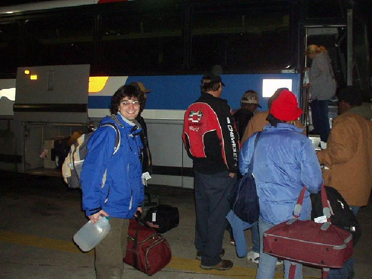 Saying goodbye to Franco at the bus station, where he caught a Greyhound for a 16-hour ride down to Florida, where he'd fly out back to Argentina in a few days.  Adios, mi amigo.  !Espero verte otra vez, en Argentina tal vez!