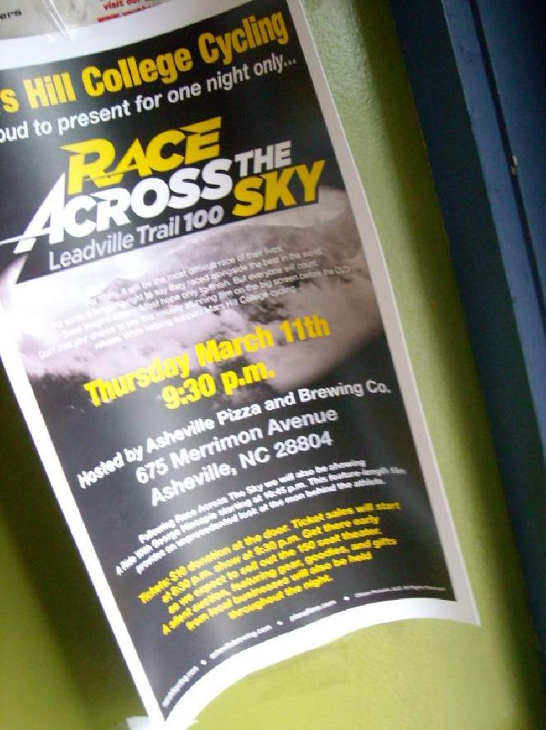 Inside Rosetta's Kitchen, I was pleased to see that there was going to be a seminar in Asheville about a Colorado 100-mile race I plan on doing one day!
