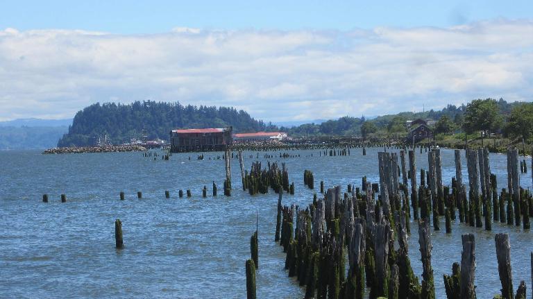 log poles in water, Astoria, Oregon