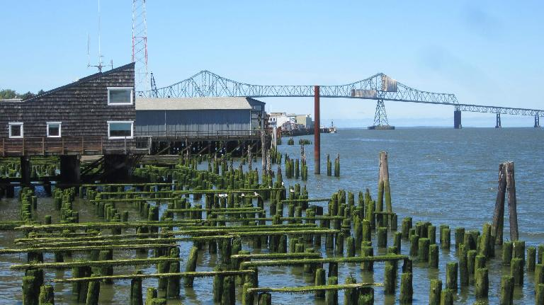 log poles, pier, Astoria Bridge