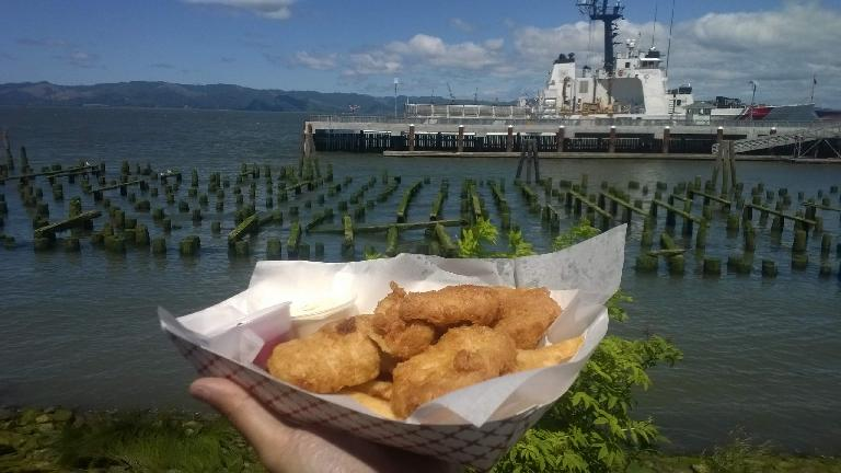fish and chips, ship, Columbia River, Astoria, Oregon