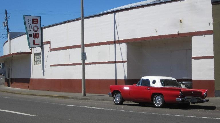 red 1950s Ford Thunderbird, white top, Lower Columbia Bowl, Astoria, Oregon