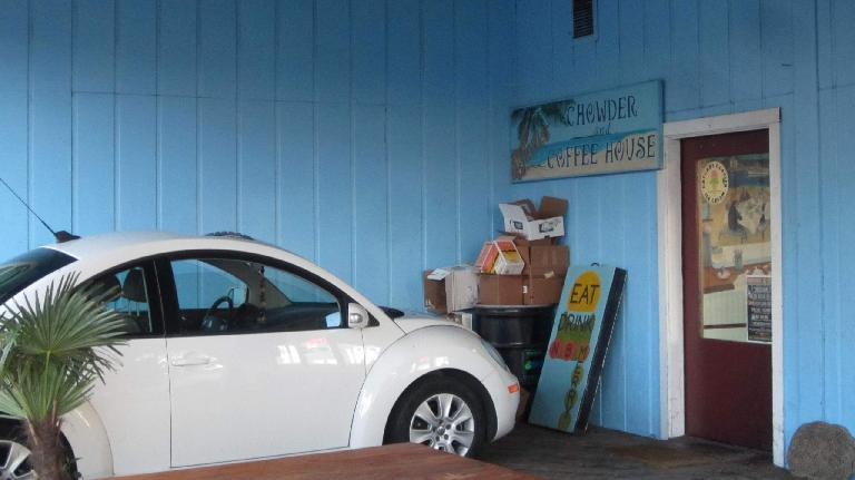 white Volkswagen New Beetle, Chowder and Coffee House, Astoria, Oregon