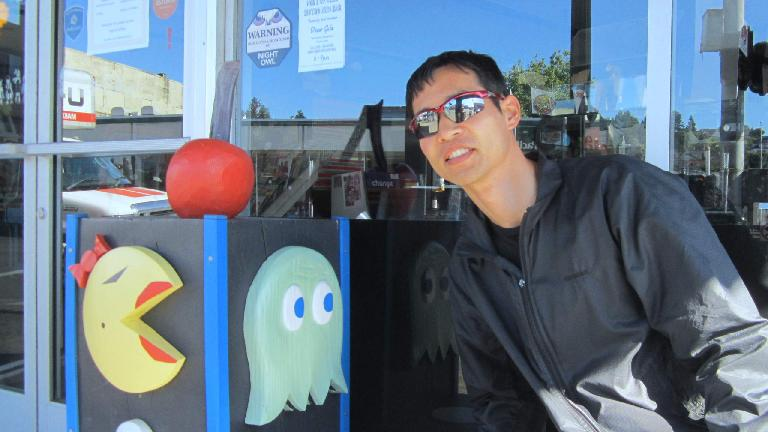 Felix Wong, Ms. Pac Man, green ghost, Astoria, Oregon