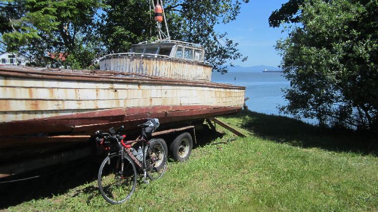black 2010 Litespeed Archon C2, old boat, Astoria, Oregon