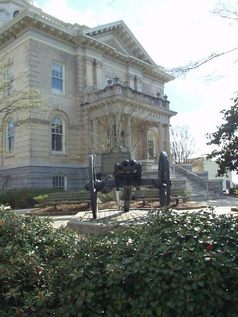 In front of City Hall is the world's only double-barrel cannon of this type.