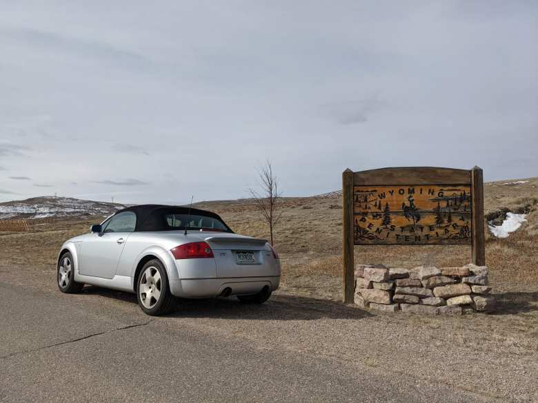 silver 2001 Audi TT Quattro Roadster, Wyoming Penitentiary