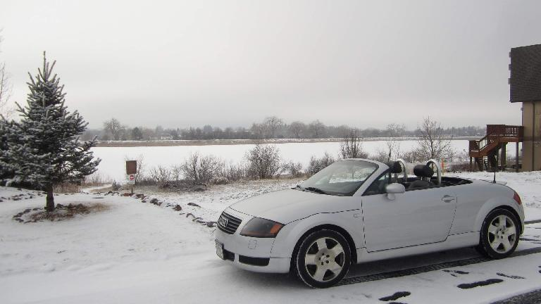 Driving an Audi TT in winter is much warmer than a motorcycle, especially with heated seats.