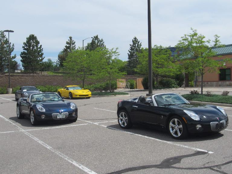 The non-Italian cars were delegated to the back.  They included two Pontiac Solstices, a Corvette, and a couple of Porsches.