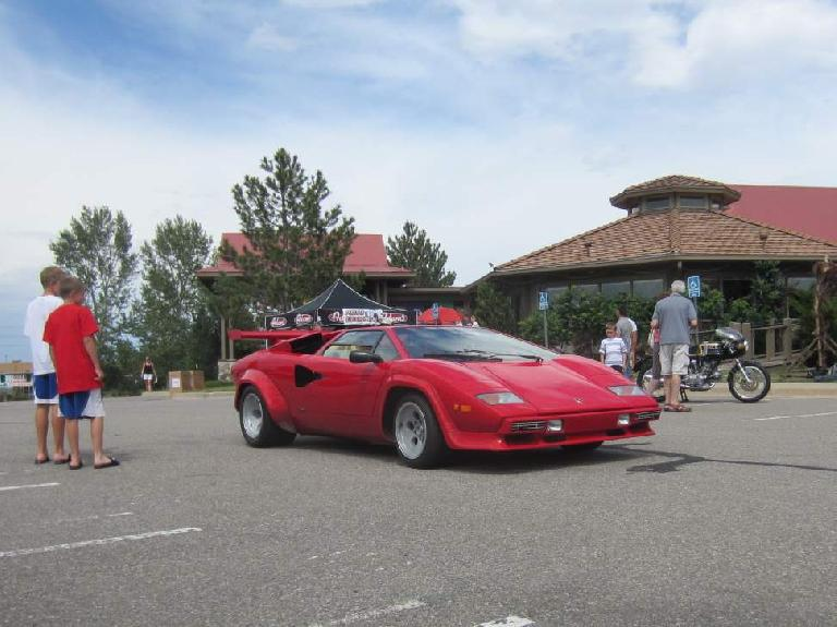 Front view of the Lamborghini Countach.