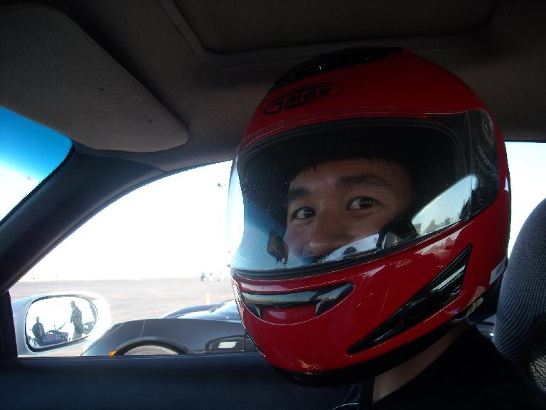 Being Kelly's co-pilot on her first lap.