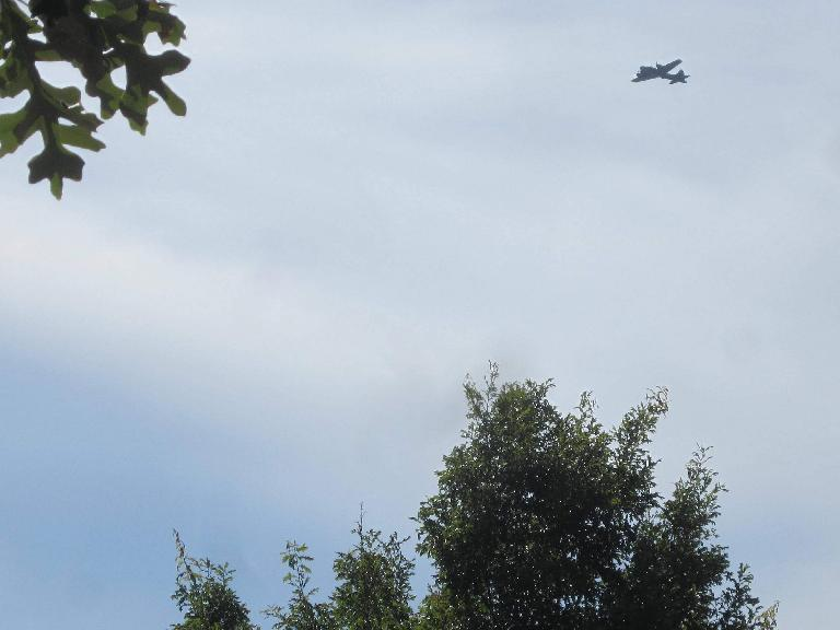 Another vintage plane passed overhead as Azad learned how to ride a bike.