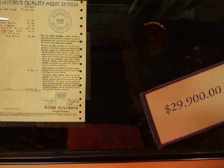 This Fairlane had an original sticker price of $2,712, but is now being sold for $29,900 40 years later.  Not bad appreciation.