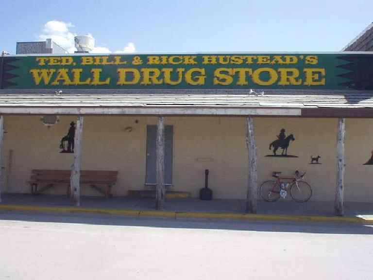 [Mile 103, 2:39 p.m.] Made it to Wall Drug, which was the last checkpoint before going back!