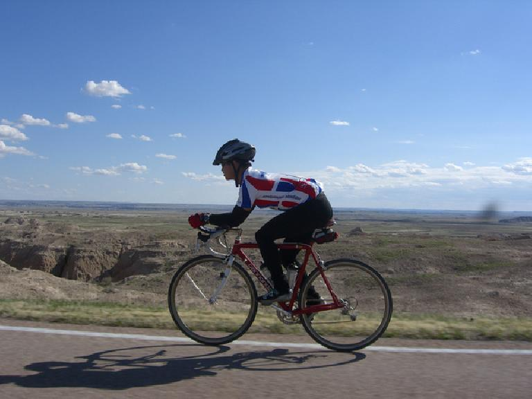 [Mile ~120] Cruising along within Badlands National Park. Photo: Cindy Larom.