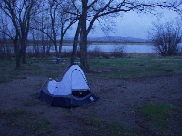 After the ride, I drove a couple of hours down to Angostura State Park in South Dakota, where I camped overnight by this lake.  Very peaceful -- at least until it started raining at 3:00am!