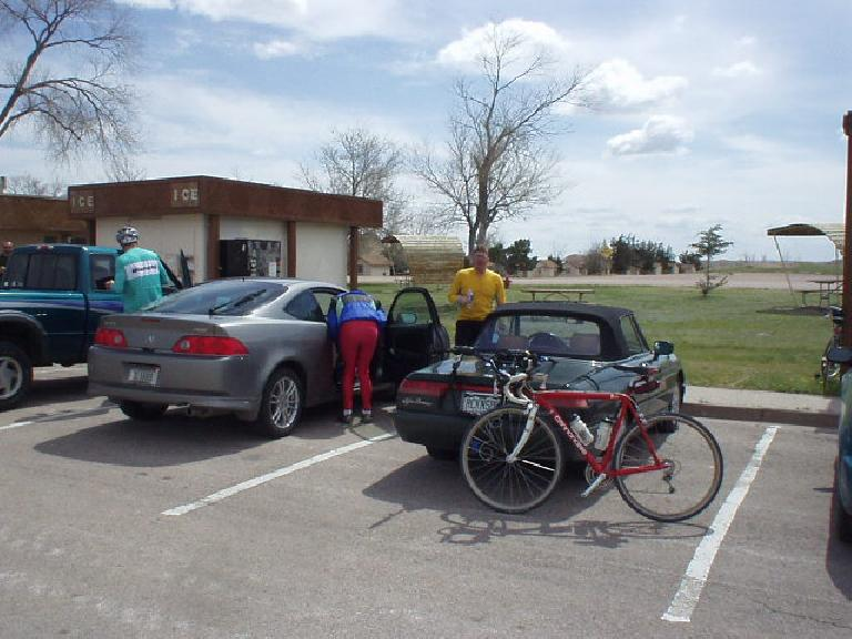 [Mile 71, 11:45am] We passed by the Cedar Park Lodge where our cars were at, but we actually still had 64 miles to ride.