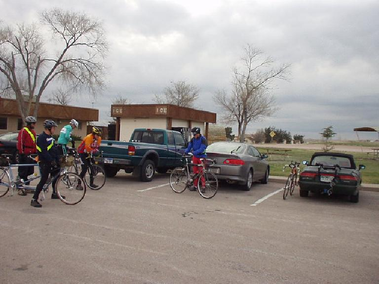 [Mile 0, 6:58am] Eight of us (representing South Dakota, Montana, and Colorado) gathered at the Cedar Pine Lodge in Interior, SD to ride this 200km brevet.  Six would finish the whole distance.
