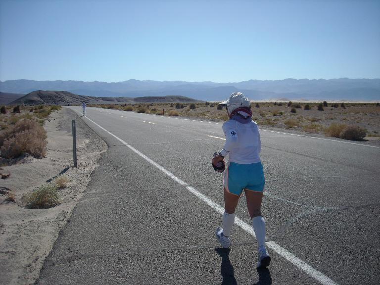 Alene hiking towards Stovepipe Wells.  She actually got in some running on this stretch.