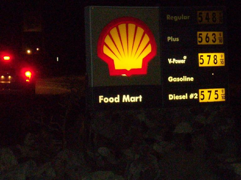 Gas prices in Panamint, CA.
