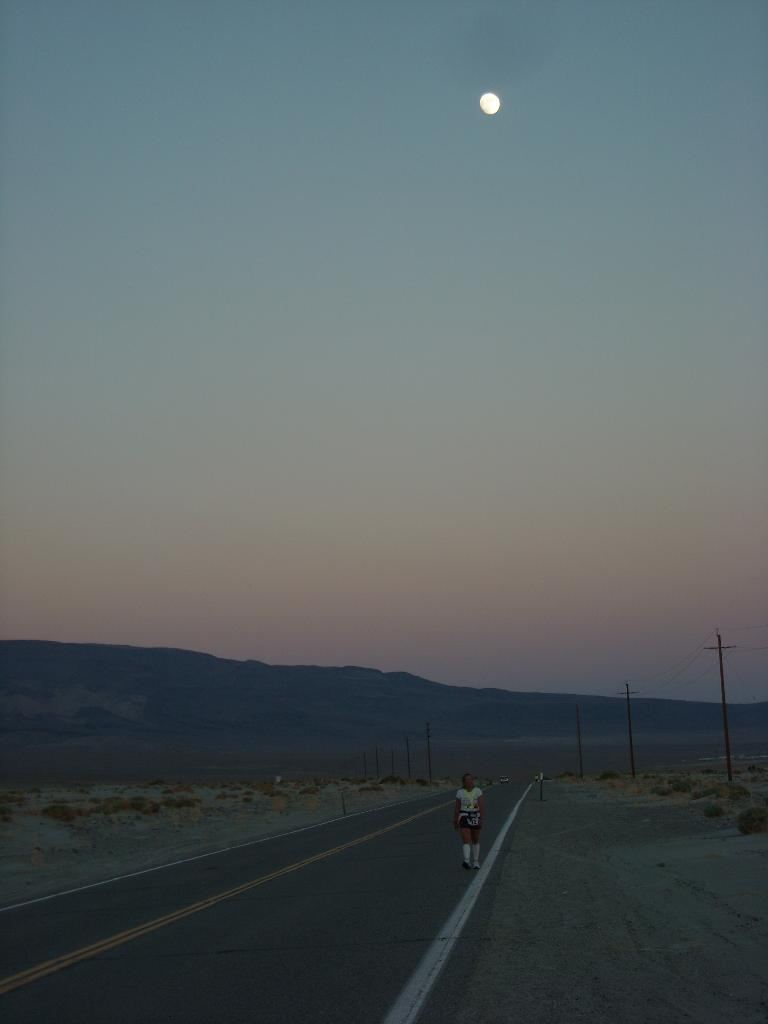 The moon was nearly full while Alene walked to Lone Pine. (July 12, 2011)