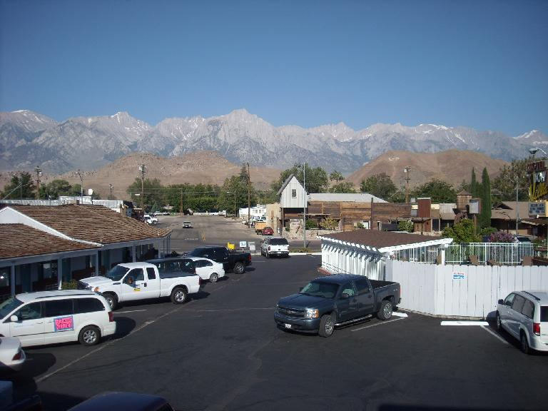 The view of the mountains around Mt. Whitney as seen from the Dow Villa Hotel balcony. (July 14, 2011)