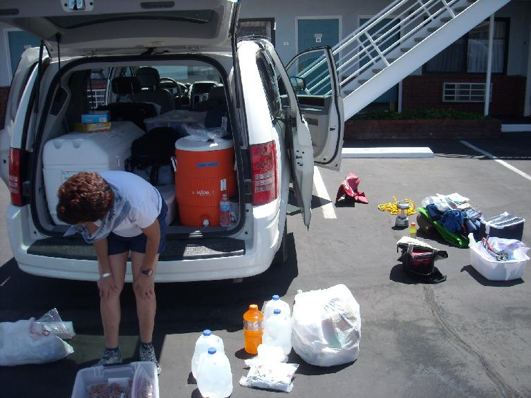 Repacking the car and trying to get more organized. (July 14, 2011)