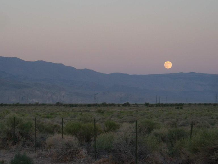 Moon rising over the mountains. (July 14, 2011)