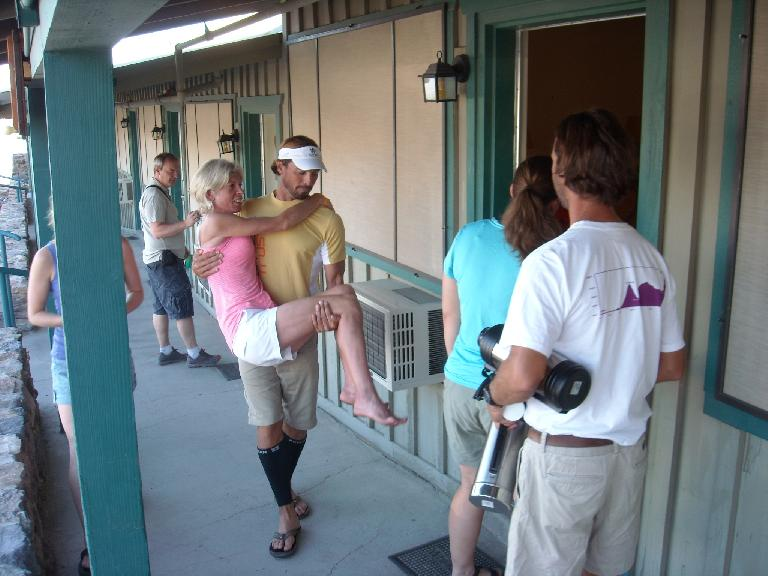 At Stovepipe Wells we encountered Mimi Anderson and her crew.  She had just completed a Badwater Double--including going up and down Mt. Whitney--the evening before in record-breaking time (109 hours). (July 16, 2011)