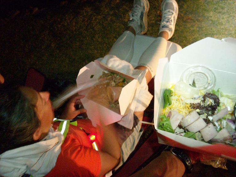Alene having pasta outside the Furnace Creek Ranch. (July 16, 2011)