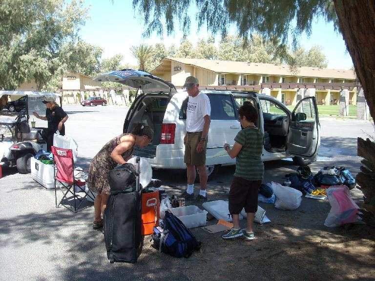 Sorting through our stuff back at Furnace Creek Ranch.  About half of this was donated to the employees of the ranch. (July 17, 2011)