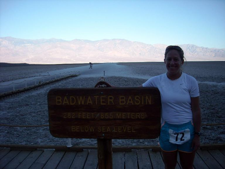Alene in Badwater, the start of the ultramarathon. (July 11, 2011)
