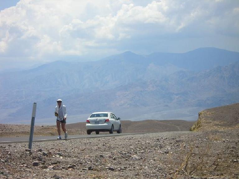 Alene in her first Badwater Ultra (2008).  She is racing it again in July 2011.