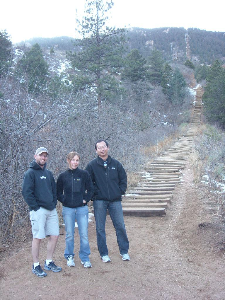 Jeremiah, Lisa, and Bandy at the Incline in Colorado Springs.