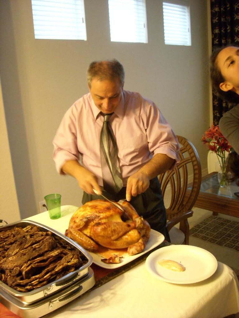 Carving a 20-pound turkey. (November 26, 2009)