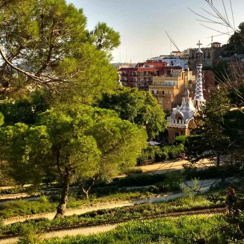 Characteristic Gaudi architecture in Park Güell in Barcelona, Spain.