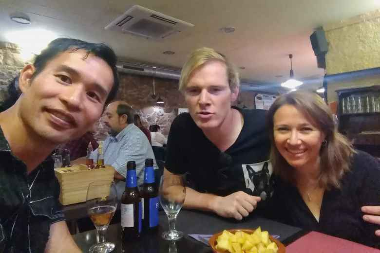 Felix Wong, Michael Wacker and Marcella at Catalonian Restaurant Terra d'Escudella.