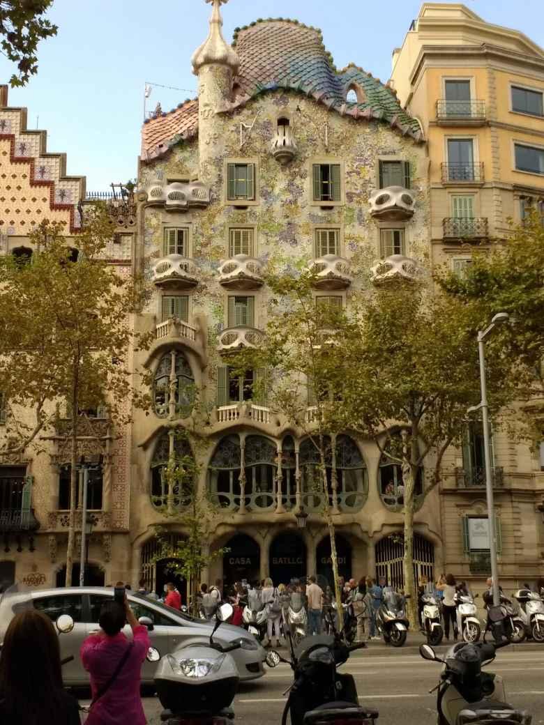 The exterior of Casa Batlló, designed by Antonio Gaudí, in Barcelona.