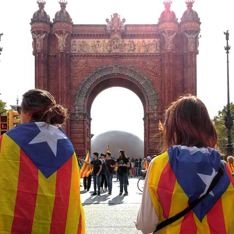 Demonstrators at the Arc de Triomf in Barcelona weeks before the referendum on independence.