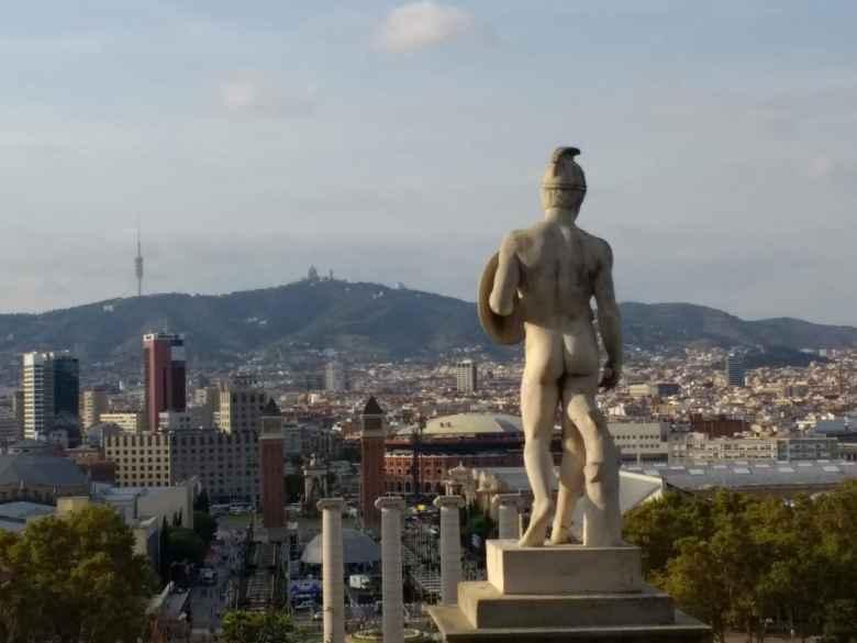 Statue of a Roman soldier overlooking Barcelona from Montjuic.