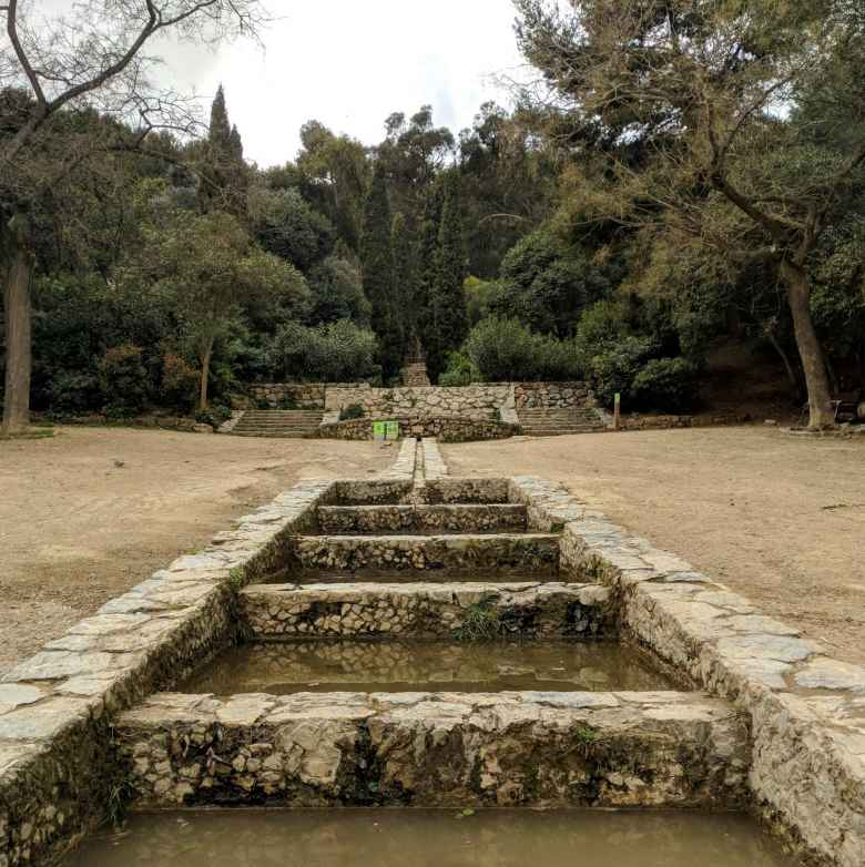 A stepped water feature at Parque del Guinardó.