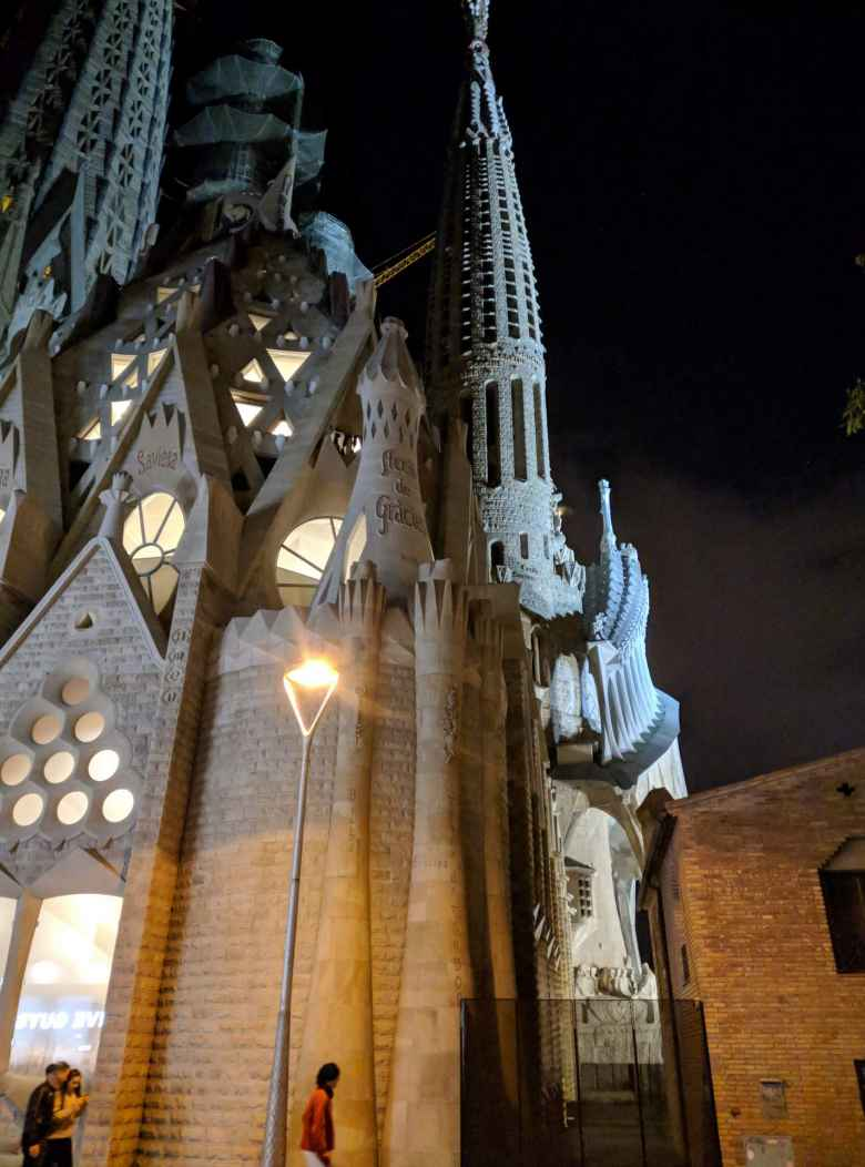 La Sagrada Familia at night.