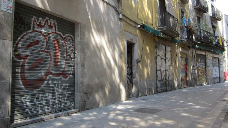 Typical city graffiti in Barcelona.