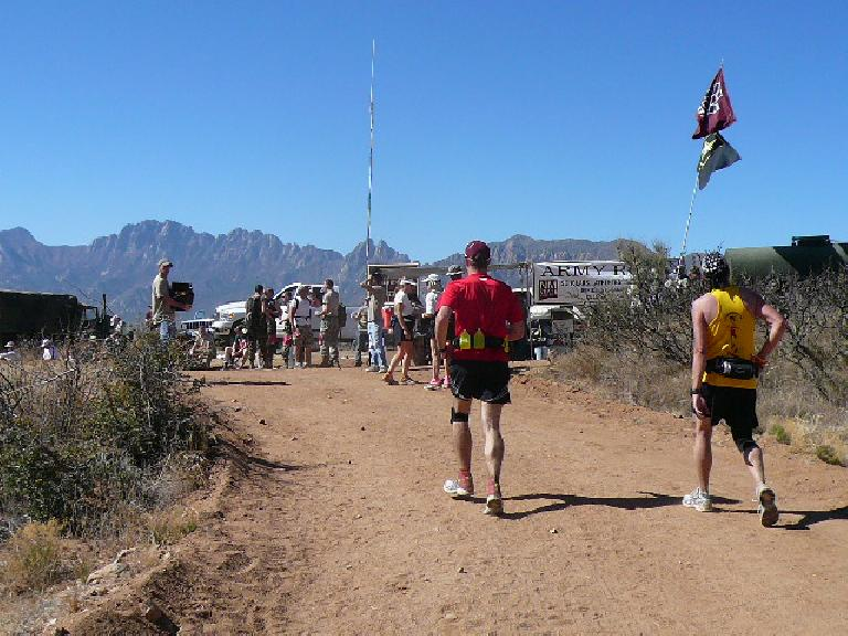 Mile 14: A great view of the mountains awaited us at the top of the 7-mile climb.