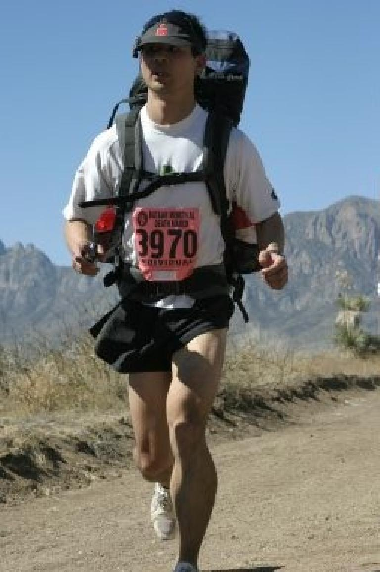 Felix Wong running with the 41-pound pack on. (Photo by Brightroom Photography.)