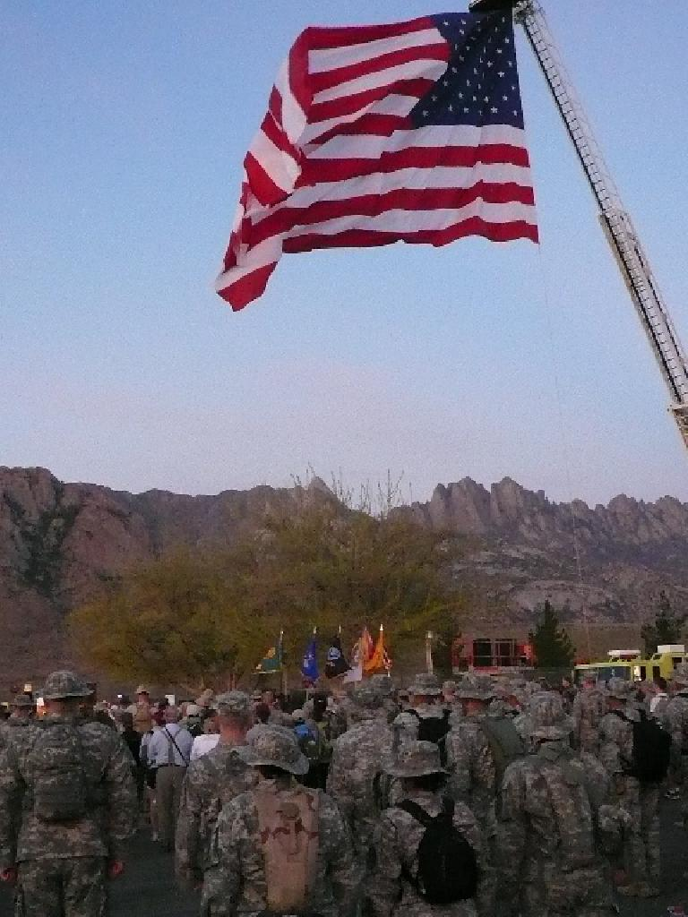 A huge U.S. flag flew above the many military participants here.