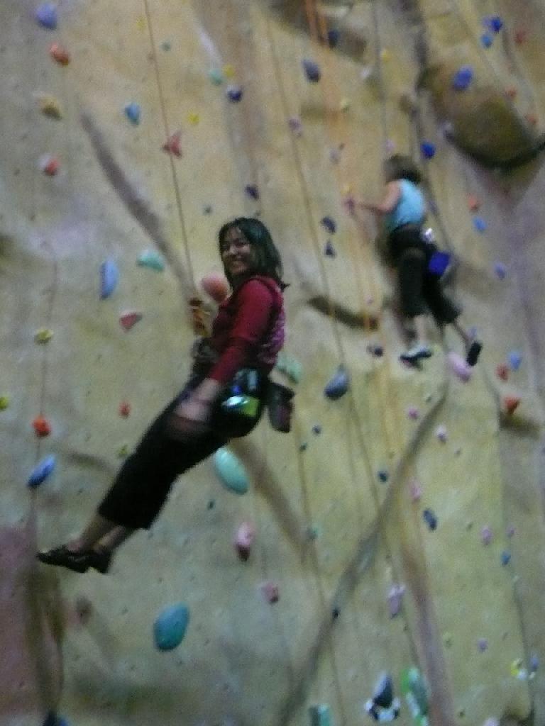 Alyssa coming down the wall.