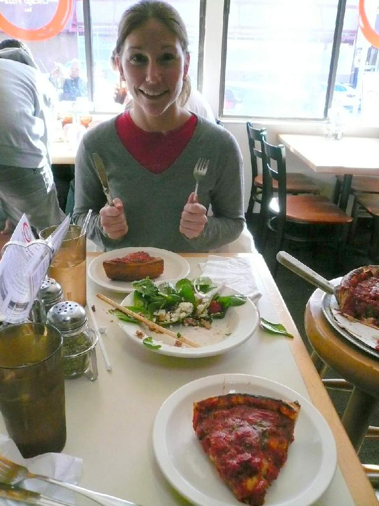 Lisa and I had some deep-dish pizza at Zacchary's in Albany, CA.  Delish!