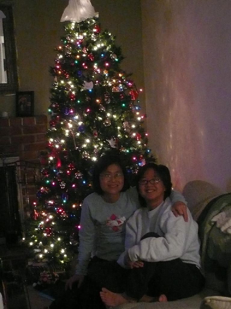 Stacey and Ann with their x-mas tree. (January 7, 2008)