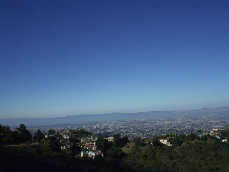 [Mile 51, 8:50 a.m.] Up on Grizzly Peak one gets a view of Berkeley, Oakland, the SF Bay, and SF.